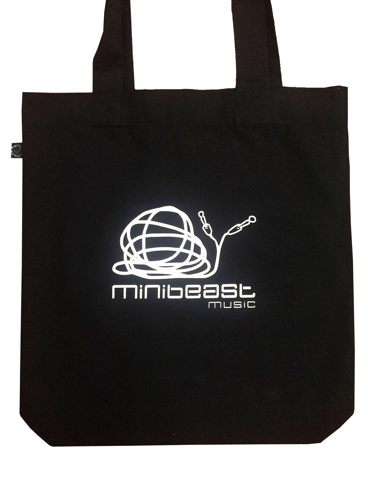 minibeast music studio, organic black tote bag