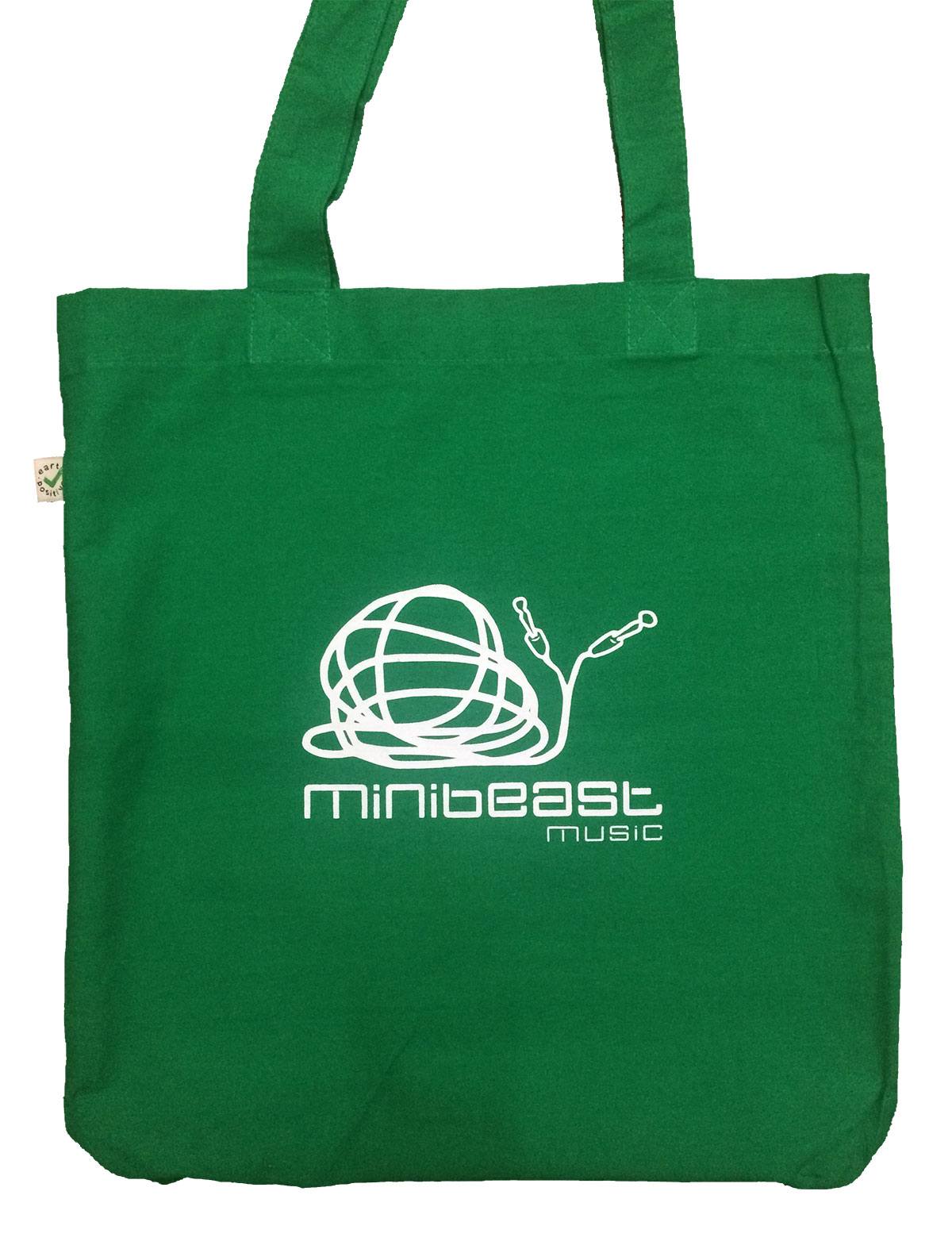minibeast music studio, organic green tote bag