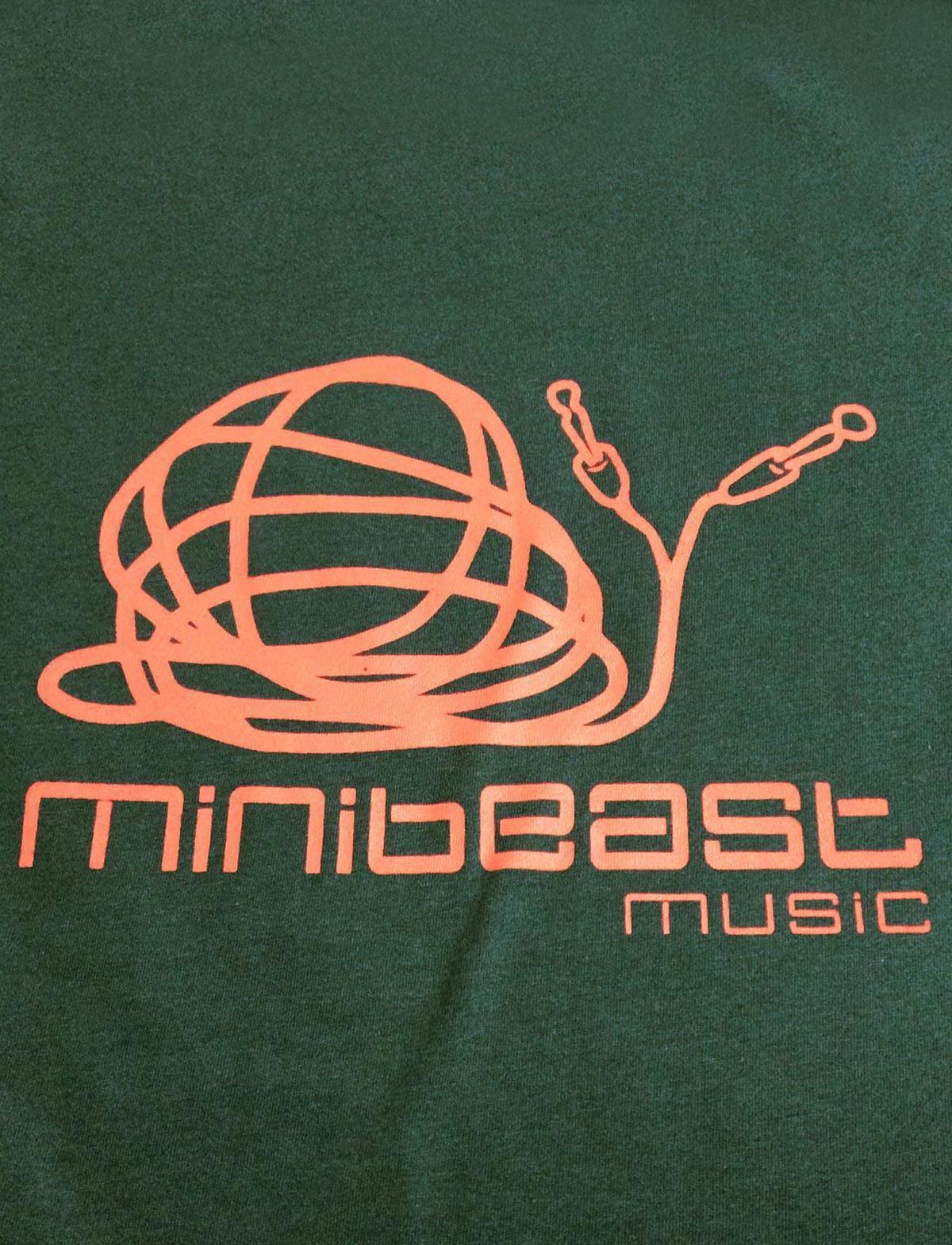 minibeast music studio, organic green t-shirt