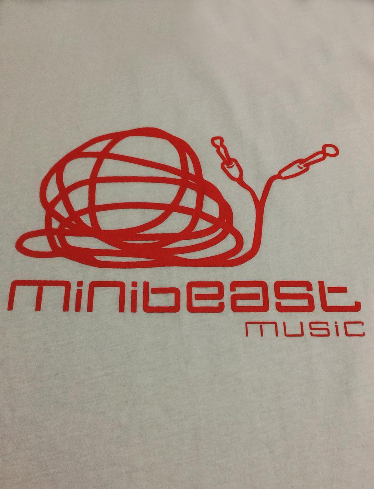 minibeast music studio, organic white t-shirt